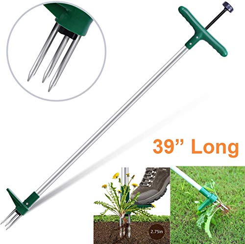 Ohuhu Stand-Up Weeder and Root Removal Tool with 3 Stainless Steel Claws, 39' Long Reinforced Aluminum Alloy Pole Manual Ruderal Remover Weed Puller Hand Tool with High Strength Foot Pedal