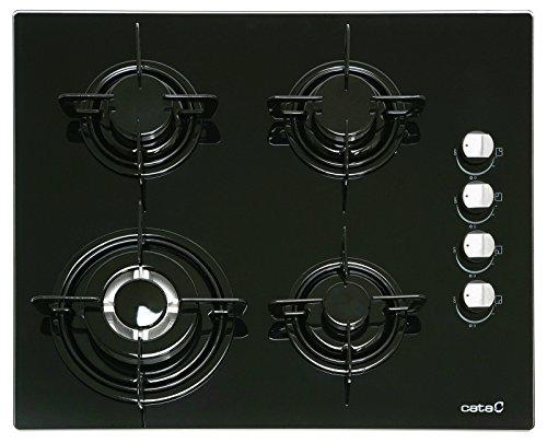 Cata Gaskochefeld 60cm/Kochfeld AUTARK/Gas auf 8 mm starkem schwarzen Glas/4 Hochwertige Gasbrenner/Kochmulde mit WOK BRENNER/Einhand Taktzündung/ Sicherheitsventile/ Automatische Abschaltung/Erdgas/Flüssiggas/UVP369€