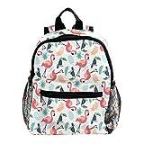 *Kinderrucksack Flamingo Papageienblätter Kleiner Tagesrucksack für den Kindergarten,Wanderrucksack für Kinder mit Breiten und bequeMen Gurten 25.4x10x30 cm