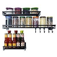 食器収納ラック 黒ステンレス鋼キッチンラック壁掛け収納棚ラックスパイスラックペンダントキッチン用品