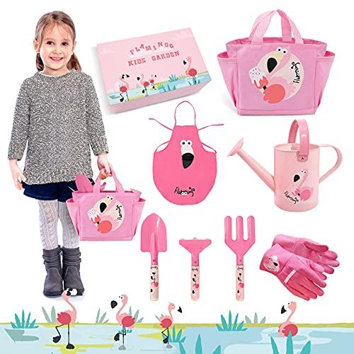 Hortem Kinder-Gartengeräte-Set, 7-teiliges Metall-Kinder-Gartenset mit Handwerkzeug, Gartentasche, Kinder-Gartenhandschuhe, Kinderschürze, Gartengeschenke für Kinder