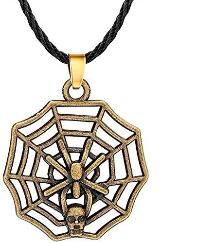 Yiffshunl Collar de Moda Punk Spider Shantou Collares de Cuerda Hip Hop Spider Network Collar de Bronce Antiguo joyería Vintage