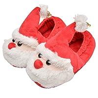 Pantofole carine a forma di Babbo natale con cappello e campanelli per creare l'atmosfera festosa. Suole TPR, antiscivolo, soft mute, non danneggiare il pavimento. Il miglior regalo di Natale per i tuoi bambini. Scarpine per perimi passi da 2 a 7 ann...