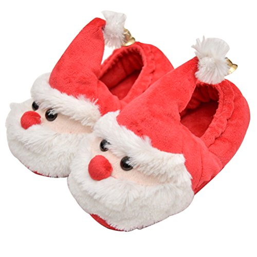OULII Christmas Santa Claus Slippers Warm Plush Slip-on Indoor Shoes for Adults and Kids Red, White