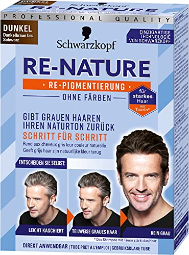 Re-Nature Re-Pigmentierung Haarfarbe Men Dunkel Dunkelbraun bis Schwarz, 3er Pack(3 x 145 ml)