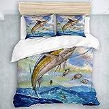 KOSALAER Bedding Juego de Funda de Edredón, Marlin Azul Marlines Atún Pequeño Bonito Pescado Terry Fox, de Almohada de Microfibra,220 x 240cm