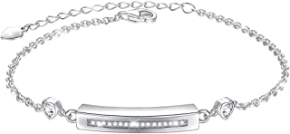 Sterling Silver Forever in My Heart CZ Cremation Urn Locket Memorial Ashes Holder Bangle Urn Keepsake Bracelet 7+2