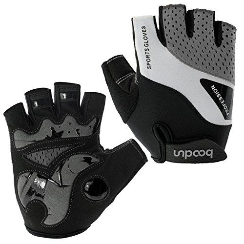 Gants de vélo pour hommes femmes demi doigt gants de cyclisme gants antidérapants respirant - gris - L