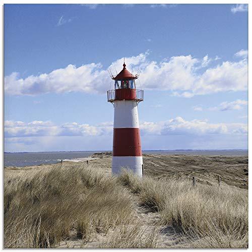 Artland Glasbilder Wandbild Glas Bild einteilig 30x30 cm Quadratisch Strand Meer Nordsee Leuchtturm Sylt Dünen Gräser Wolken Sommer Urlaub T9ML