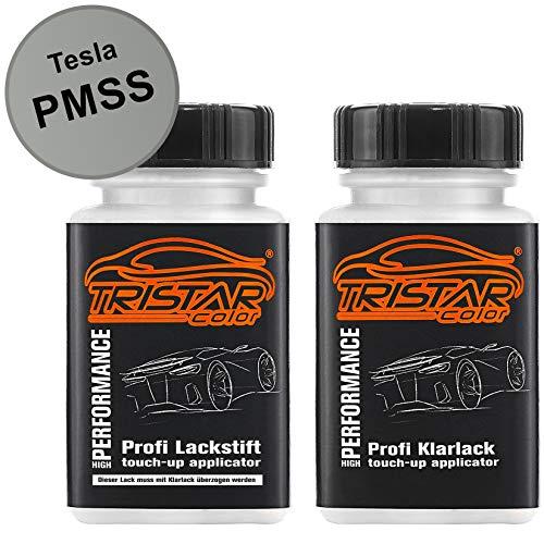 TRISTARcolor Autolack Lackstift Set für Tesla PMSS Starlight Silver Metallic/San Simeon Silver Metallic Basislack Klarlack je 50ml