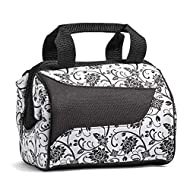 Fit + Fresh Downtown Insulated Lunch Bag for Women with Extra-Wide Opening, Ebony Floral