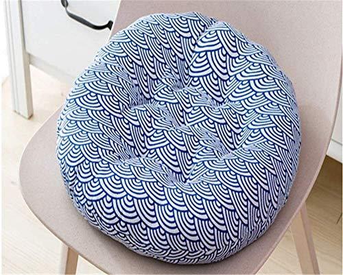 Cojines para Silla 2PC Patio cómodo suave Ronda de algodón y lino Pad Chair Patio Inicio de cocina Oficina Coffice Hoja cojín de asiento Almohadillas para sillas ( Color : Wave , Size : 50*50 )