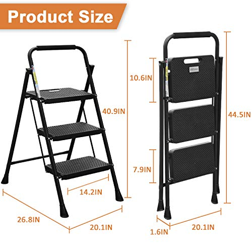 HBTower 3 Step Ladder, Folding Step Stool with Wide Anti-Slip Pedal, 500lbs Sturdy Steel Ladder, Convenient Handgrip, Lightweight, Portable Steel Step Stool, Black