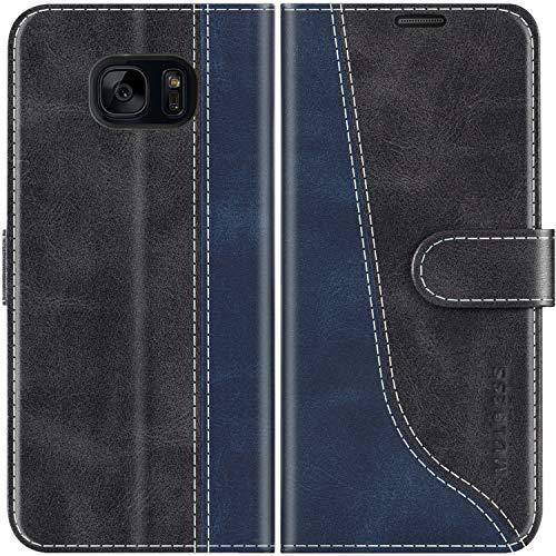 Mulbess Funda para Samsung S7, Funda con Tapa Samsung Galaxy S7, Funda Samsung Galaxy S7 Libro, Funda Cartera para Samsung Galaxy S7 Carcasa, Negro