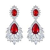 Pendientes de Mujer - Clearine Aretes Cierre de Clip en Forma de Flores Lágrims, Estilo Retro Precioso Cristales para Boda Novia Fiesta Rojo Tono Plateado