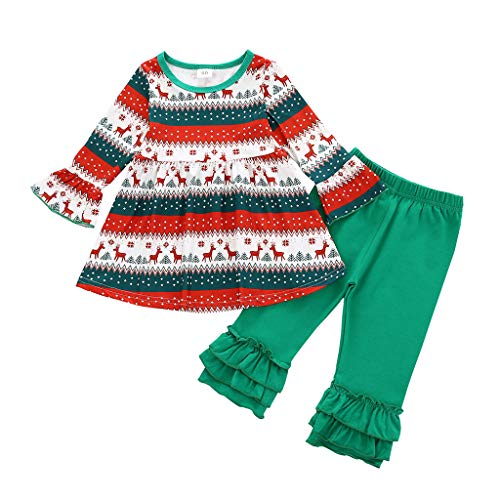 Newborn Baby Girls Bell Bottom Pants 2Pcs Christmas Ourfits Toddler Baby Cute Girl Thanksgiving Day Outfits Long Sleeve Turkey Print Ruffle Tops Flare Pant Xmas Clothes Set