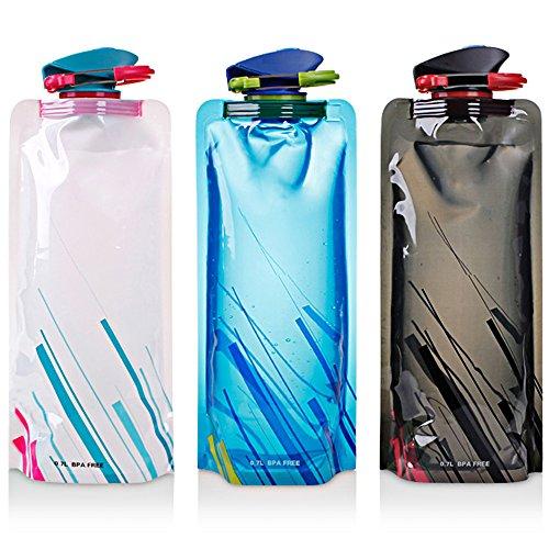 maxin Faltbarer Wasser-Flaschen-Satz von 3, Flexible zusammenklappbare Wiederverwendbare Wasser-Flaschen für das Wandern, Abenteuer, das Reisen, 700ML.