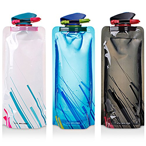 Botella de agua plegable conjunto de 3, MAXIN flexibles plegables botellas de...