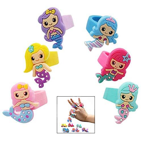 iPobie 36 Stück Meerjungfrau Ringe Silikon Fingerring Set für kleine Mädchen, Kinderschmuck Kindergeburtstag Mitgebsel
