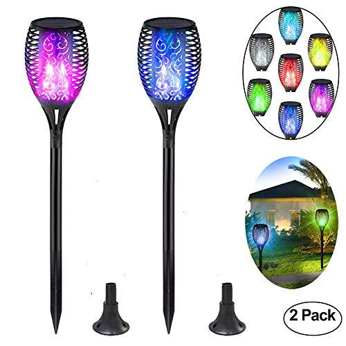 ZJING Luces de la antorcha Solar, Danza Impermeable, Parpadeo, Llama Colorida, luz Solar, iluminación de la decoración del Paisaje, para el Camino del Patio del jardín