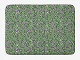 Yilan Alfombrilla de baño Floral, Patrón de Flores de Hojas de ostra Continua, Alfombrilla de baño de Felpa con Respaldo Antideslizante, Gris púrpura Verde