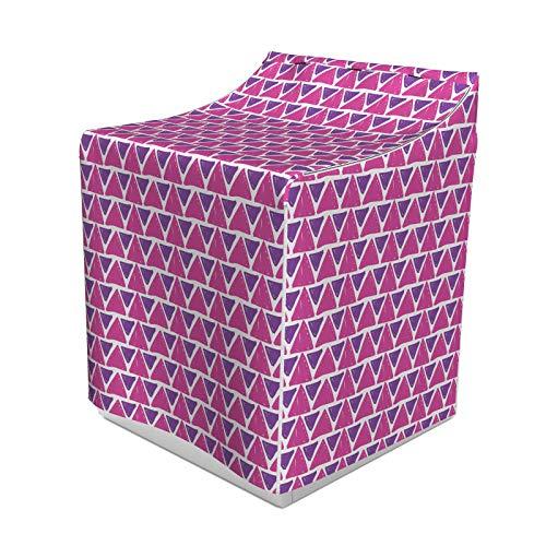 ABAKUHAUS Geometrisch Waschmaschienen und Trockner, Hand gezeichnete Skizze Stil Dreieck-Muster mit Pinsel, Muster Abstrakte Streifen, Bezug Dekorativ aus Stoff, 70x75x100 cm, Lila und rosa