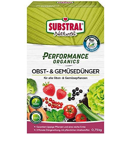 Substral Performance Organics Obst & Gemüse Dünger, Hochwertiger, natürlicher Volldünger für Obst- & Gemüsepflanzen mit 3 Monate Langzeit-Düngewirkung, 750 g