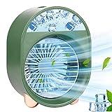 Mini Enfriador de Aire, Acondicionador de Aire Móvil, 3 En 1 Climatizadores Evaporativos con Función de Humidificación,Ventilador Aire Acondicionado para el hogar y el exterior (Green)