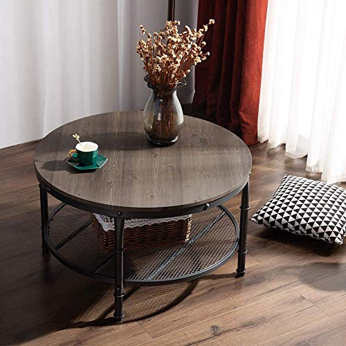 VINGLI Round Coffee Table, Coffee Table for Living Room with Wooden Top & Metal Frame, 2-Tier Open Shelf Storage, Sturdy and Rustic, Vintage Brown