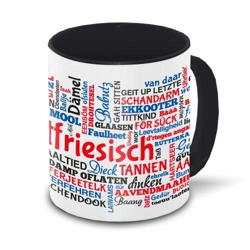 Ostfriesen-Tasse Tagcloud - weiß/schwarz - Tasse mit typischen Wörtern im ostfriesischen Dialekt