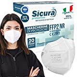 Mascarillas FFP2 Homologadas fabricadas en Italia. 20x Mascarilla ffp2 certificada CE Sanitizada. ISO dispositivo médico BFE ≥99%. Paquete de mascaras 20 unidades.