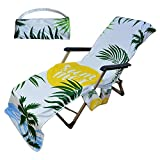 Beach Chair Cover, Pool Chaise Lounge Chair Cover with Pockets Non Slip Quick Drying Pool Chair Cover for Hotel Vacation Sunbathing Garden Lawn Chair Pool Sun Lounger