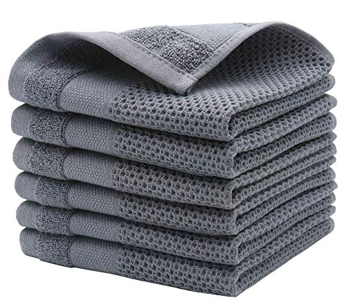 MiasDream 100 Cotton Dish Rags Waffle Weave Dish Cloths Soft and Absorbent Dish Towels for Drying Dishes Kitchen Towels and Dishcloths Set 12inchx12inch 6 Pack Gray