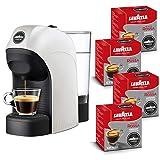 Lavazza A Modo Mio, Macchina Caffé Espresso Tiny Con 64 Capsule Qualità Rossa Incluse, Macchinetta A Capsule Per Un Caffè A Casa Come Al Bar, 1450 W, 0.75 Litri, Colore Bianco