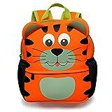 BTSKY Cartera Escolar Infantil con Asa Doble Mochila Graciosa con Diseño de Animales como Mono Tigre Jirafa Ligero Tamaño Niños de 1-5 Años (Tigre)