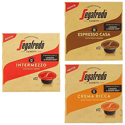 Segafredo - 72 Capsule Compatibili A Modo Mio, Linea Le Classiche Gusto Intermezzo, Espresso Casa e Crema Ricca - 6 Astucci da 12 Capsule