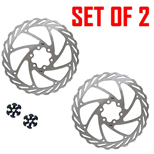 Bicycle Disc Brake Rotors Set of 2 160mm Front And Rear Rotor Size 160mm-24mm For EBikes, Mountain Bike And Sports Bike
