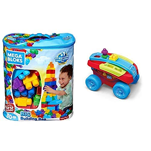 First Builders Big Building Bag AND Mega Bloks Building Basics Shape Sorting Wagon Building Set, Classic