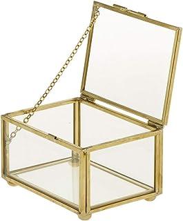 CAILI Caja Joyero,Caja de Joyas,Caja de Almacenamiento de Exhibición de Cristal Retro de la Joyería,Estuche Rectangular pa...