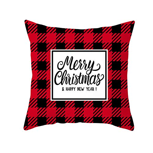Qishi Christmas pillowcase, red lattice deer head, cushion cover, square sofa cushion cover 45x45cm