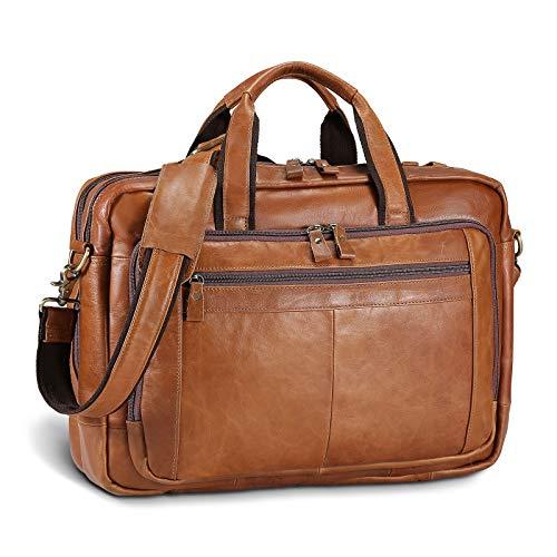 UBaymax Leder Aktentasche Laptoptasche Herren, Vintage Ledertasche Businesstasche für bis 17 Zoll Laptop, Klassische Echt-Leder Schultertasche Arbeitstasche Messenger Tasche (Braun)