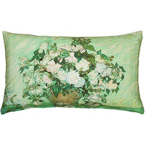 Pillow Decor - Van Gogh Vase with Pink Roses Throw Pillow