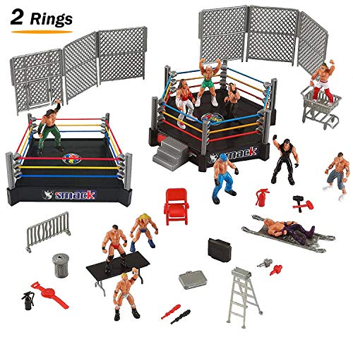 Liberty Imports 32-Piece Mini Wrestling Playset with Action Figures & Accessories | Kids Toy with Realistic Wrestlers | 2 Rings Included