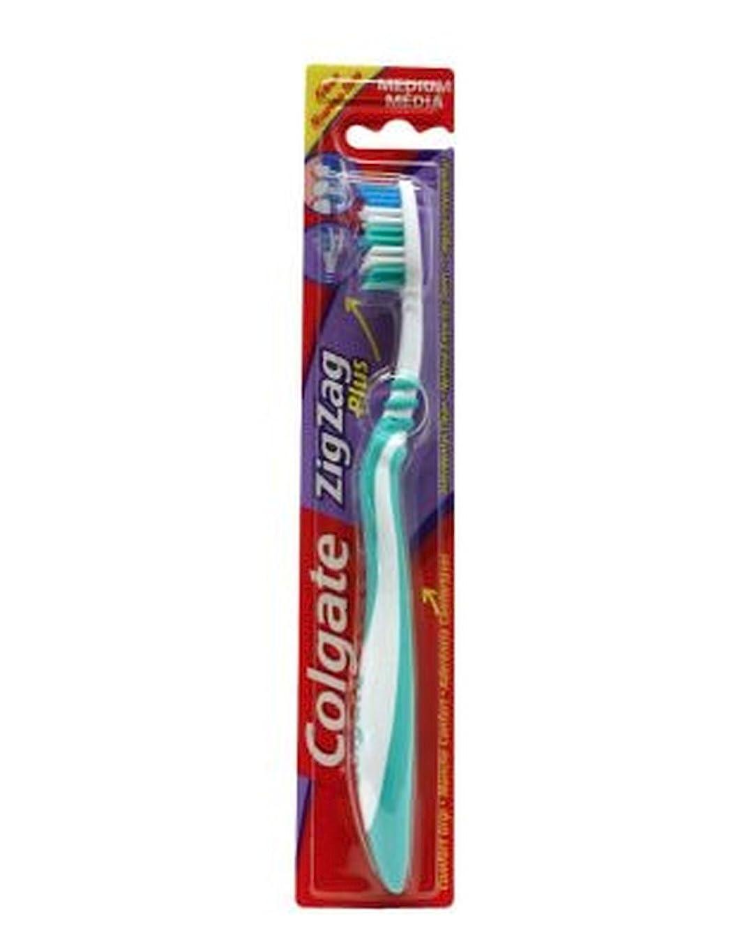 教科書びんシェルターColgate Zig Zag Plus Toothbrush Medium - コルゲートジグザグプラス歯ブラシ媒体 (Colgate) [並行輸入品]