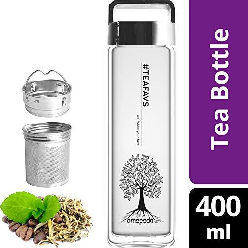 amapodo Teeflasche mit Sieb - Tee Flasche Glas to go - Tea Bottle 400ml (Silber)