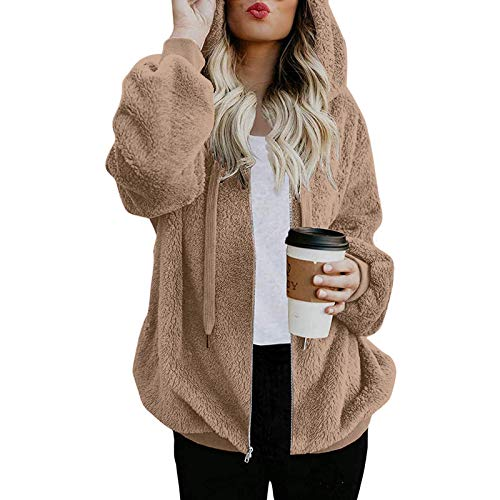 Alueeu Mujeres Sudaderas con Capucha Manga Larga Suéter con Bolsillo Suelto Abrigo con Cremallera Blusa Cordón Tops Otoño Invierno Remata Pullover Cálido