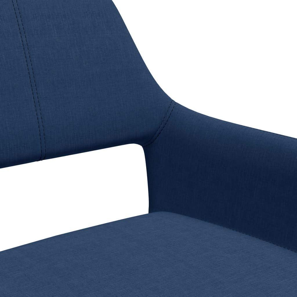 vidaXL 2X Chaises de Salle à Manger Chaises à Dîner Meubles de Cuisine Chaises de Repas Siège de Salle à Manger Salon Maison Intérieur Bleu Tissu Bleu