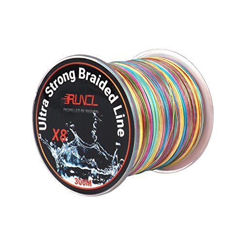 RUNCL Braided Fishing Line with 8 Strands, Fishing Line PE Material 328Yds/300M with Multiple Colors for Freshwater and Saltwater (328Yds/300M, 30LB(13.6kgs))