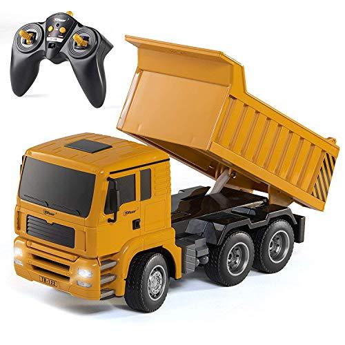 Top Race Ferngesteuerter Kipplaster, 6 Kanäle, voll funktionsfähig, Konstruktions-Trucks, Spielzeug für Kinder im Alter von 3, 4, 5, 6, 7 Jahren, mit Licht und Tönen, Maßstab 1:18 TR-122