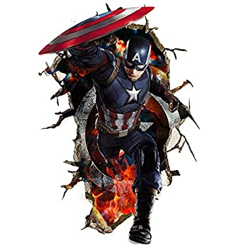 JEEZON Superhero Wall Decal 3D Super Hero Wall Stickers Removable PVC Cartoon Wall Sticker for Kids Bedroom Living Room Playroom Wall Décor 16 inches x 24 inches  Captain America  JEEZON- Superhero-001